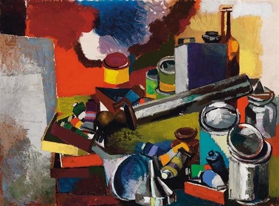 Tavolo e oggetti nello studio, 1957 - Renato Guttuso