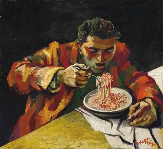 Uomo che mangia gli spaghetti, 1956 - Renato Guttuso