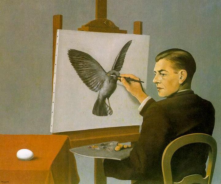 http://www.wikipaintings.org/en/rene-magritte/clairvoyance-self-portrait-1936