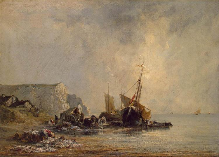 Boats by the Normandy Shore, 1823 - Richard Parkes Bonington