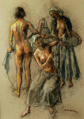 Three women - nude and with pitcher