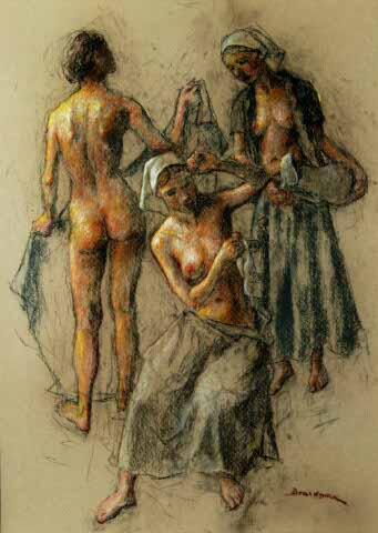 Three women - nude and with pitcher - Robert Brackman