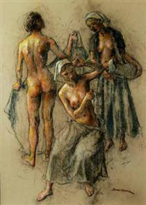 Three women - nude and with pitcher - Robert Brackman