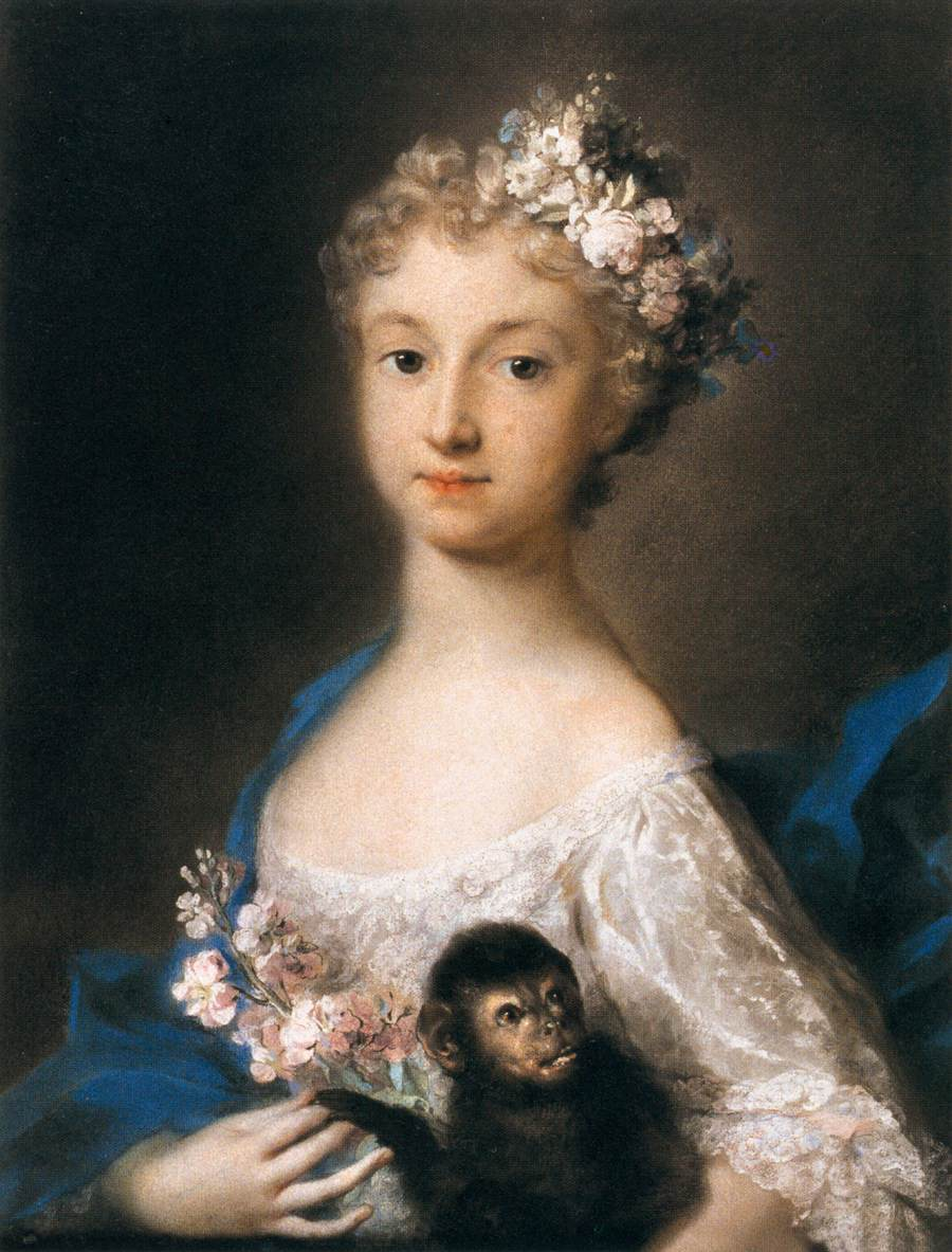 Young Girl Holding A Monkey 1721 Rosalba Carriera