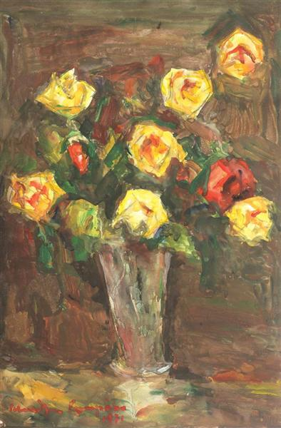 Vase with Roses, 1971 - Rudolf Schweitzer-Cumpana