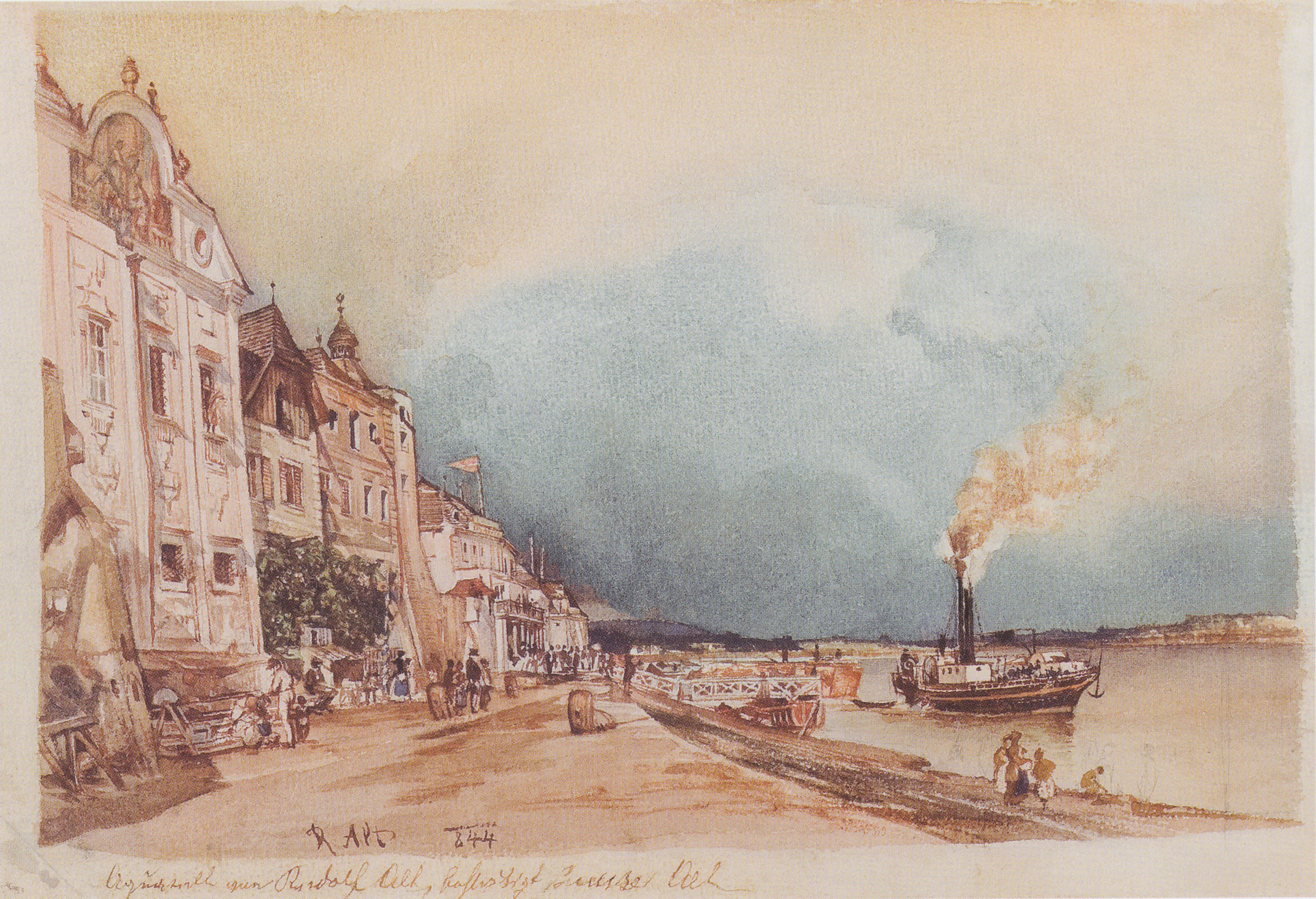 The landing site in Stein an der Donau, 1844