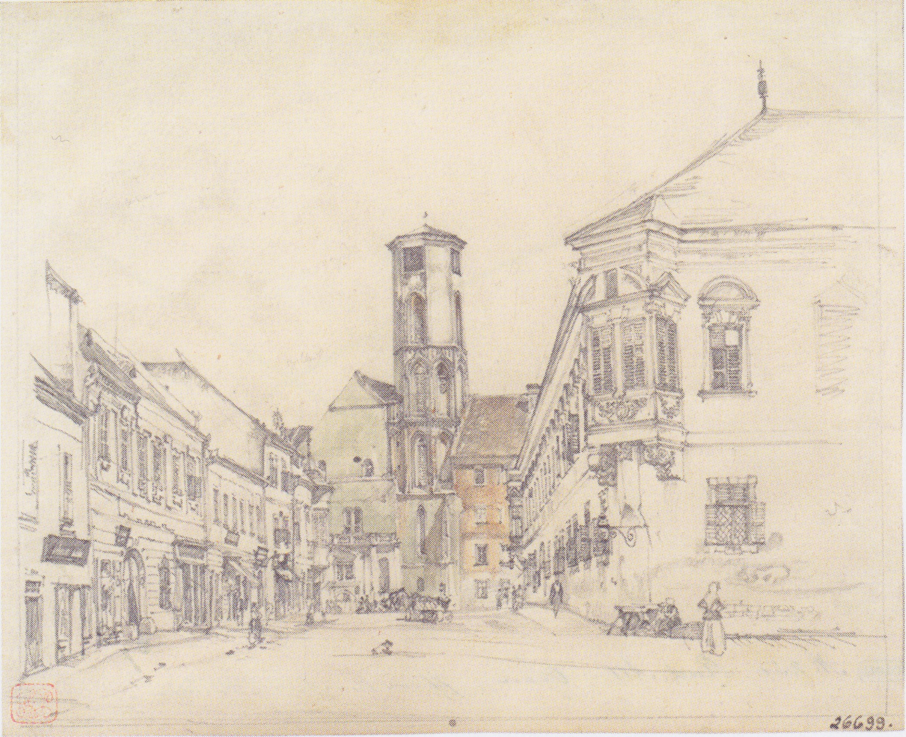 The parish church in Ofen, 1845