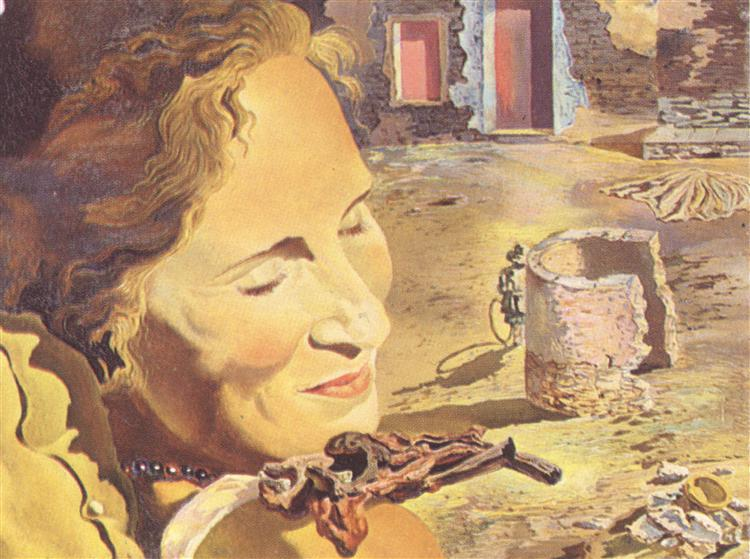 Portrait of Gala with Two Lamb Chops Balanced on Her Shoulder, 1933 - Salvador Dali