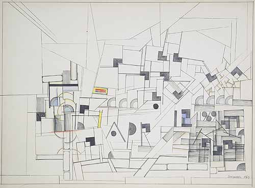 "Untitled (Drawing Table ""Apr 12""), 1969 - Saul Steinberg"