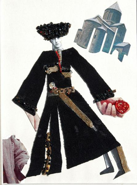 """The sketch to the movie """"Demon"""". """"The person in a black felt cloak"""" - Sergei Parajanov"""