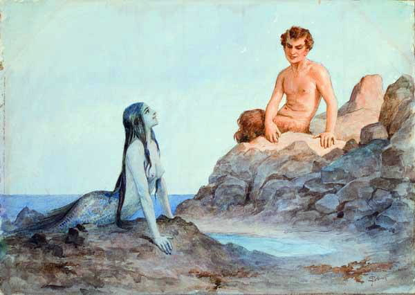 Mermaid and faun, c.1904 - Sergey Solomko