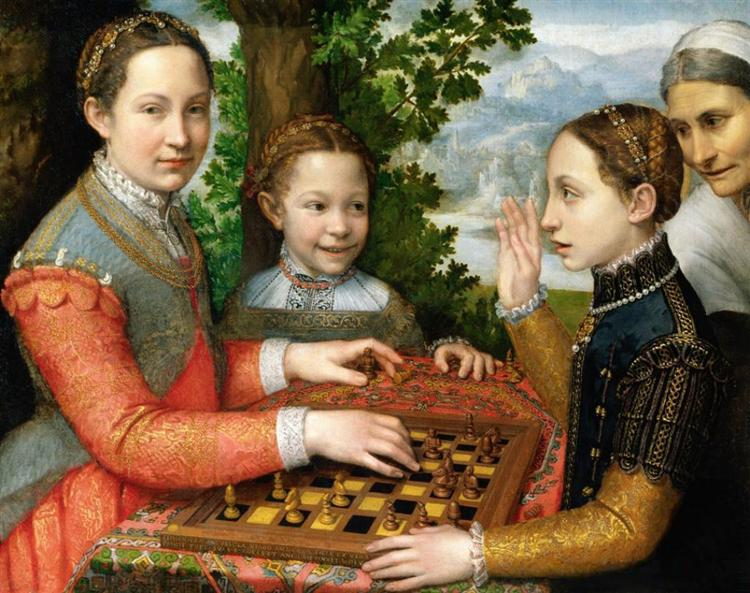 Lucia, Minerva and Europa Anguissola Playing Chess, 1555 - Sofonisba Anguissola