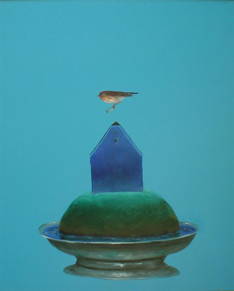 Bird with Ring and Blue House, 2004 - Stefan Caltia
