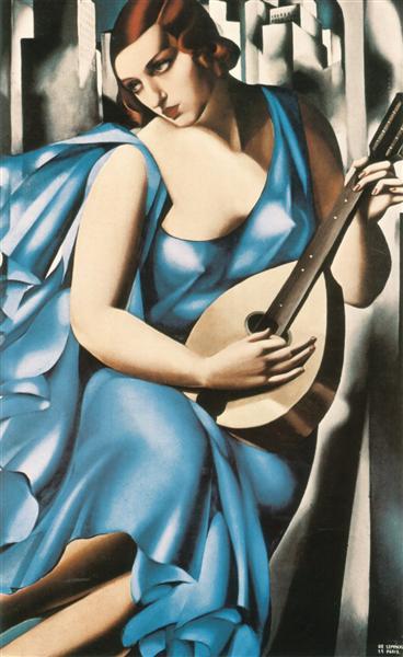 Blue Woman with a Guitar - Tamara de Lempicka