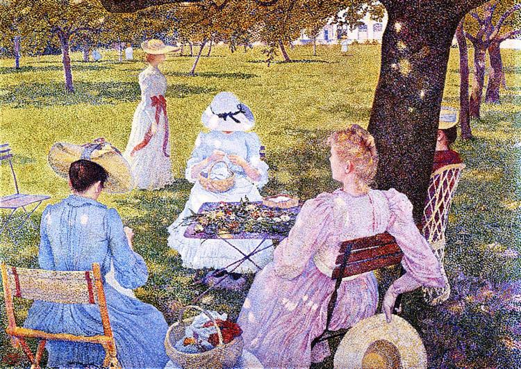 Family in the Orchard, 1890 - Théo van Rysselberghe