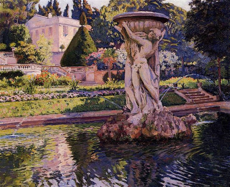 Garden with Villa and Fountain, 1924 - Theo van Rysselberghe