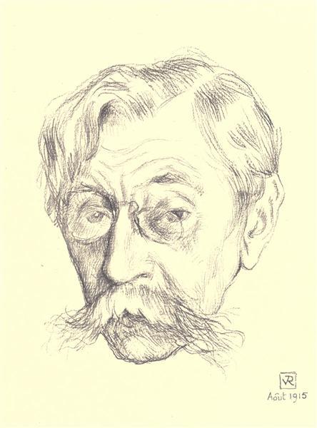 Pencil sketch of the head of Belgian poet Émile Verhaeren, 1915 - Theo van Rysselberghe