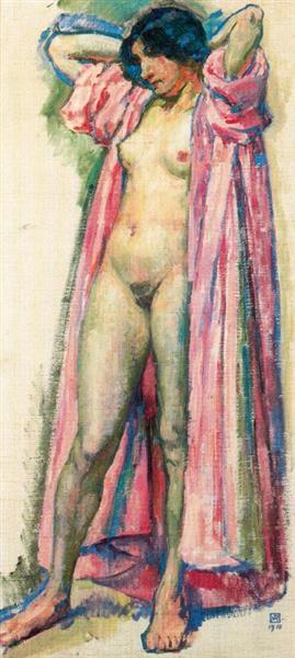 Woman in Red Peignoir, 1910 - Theo van Rysselberghe