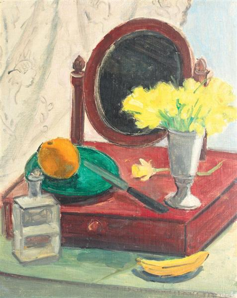 Still Life with Narcissus and Mirror, 1940 - Theodor Pallady
