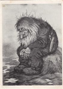 Troll wonders how old he is - Trollet som grunner på hvor gammelt det er - Theodor Severin Kittelsen