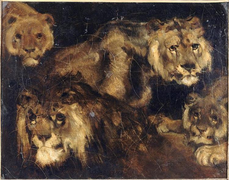 Study for Four Lions - Théodore Géricault