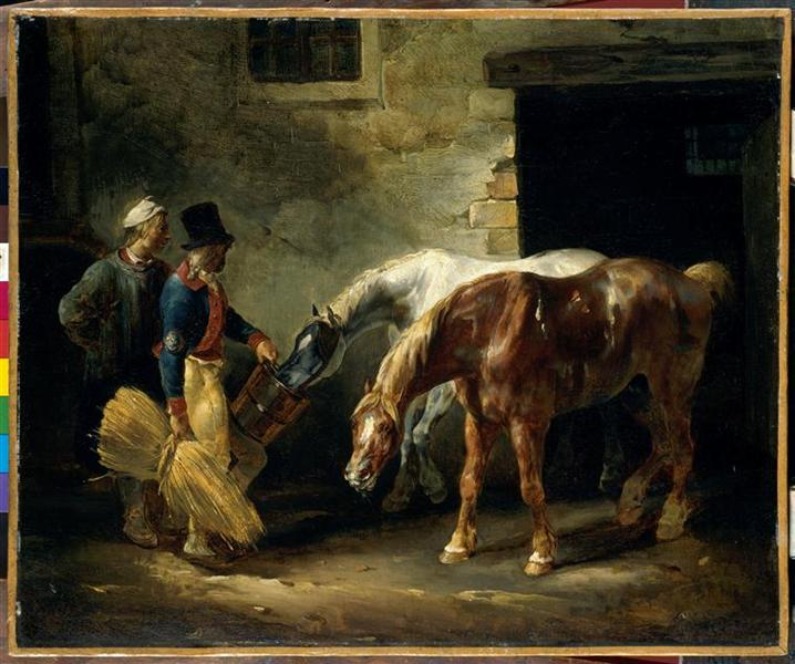 Two post-horses at the stable, c.1823 - Théodore Géricault