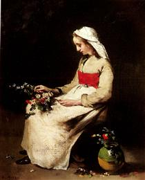 A Girl Arranging a Vase of Flowers - Теодюль Рибо