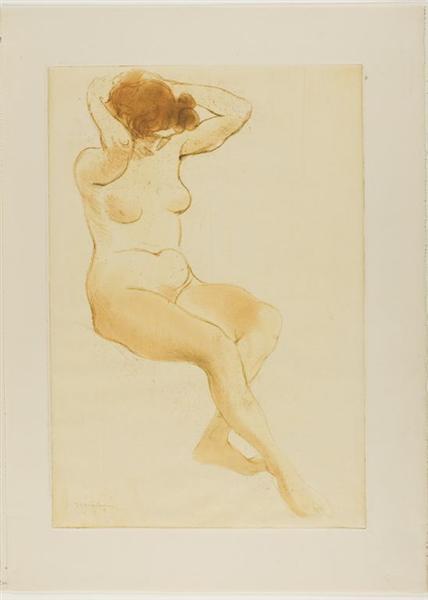 Femme de Trois Quarts Se Coiffant, 1902 - Theophile Steinlen