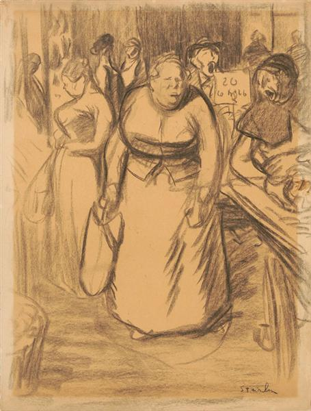 Femmes Sur Le Marche - Theophile Steinlen