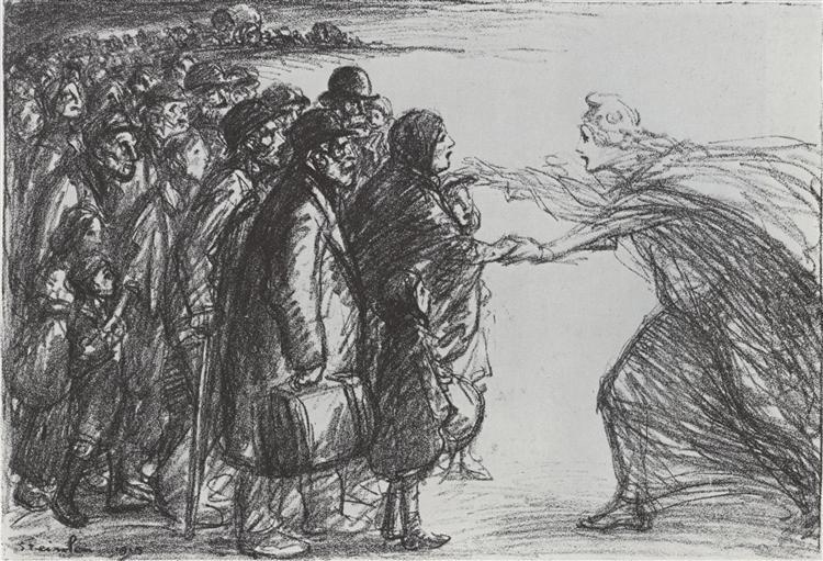 Les Refugies de la Meuse, 1915 - Theophile Steinlen