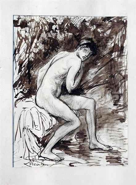 Nude on bed - Theophile Steinlen