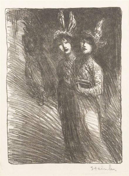 Two women lithograph - Theophile Steinlen