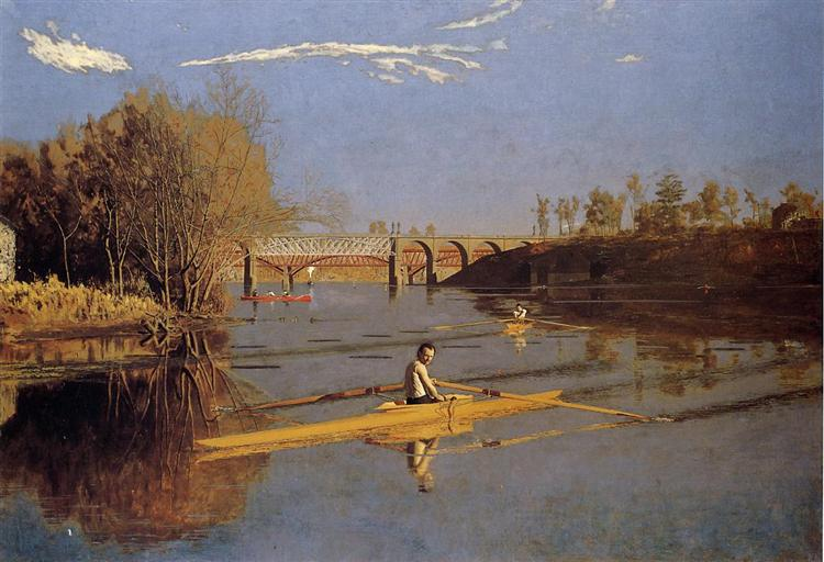 Max Schmitt in a Single Scull, 1871 - Thomas Eakins