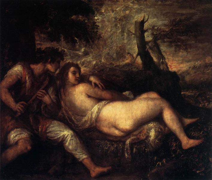 Shepherd and Nymph - Titian