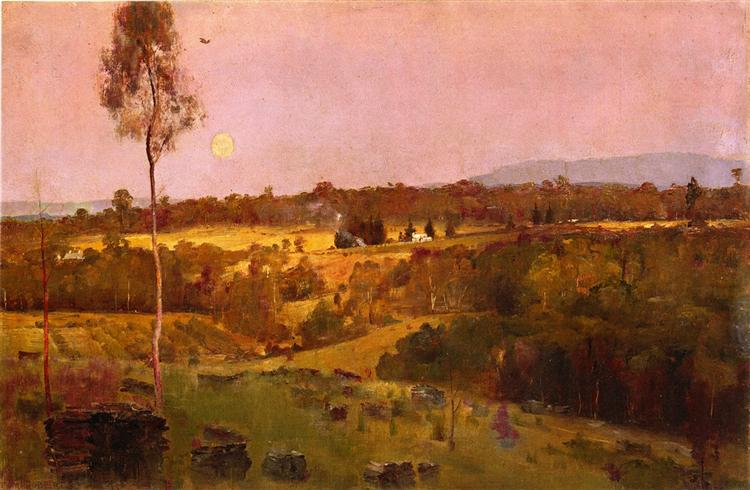 Evening, when the quiet east flushes faintly at the sun's lasts look, 1888 - Tom Roberts