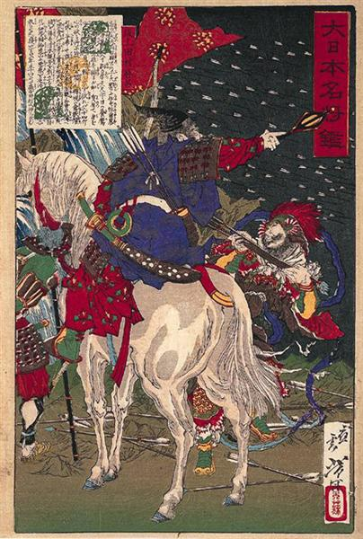A print depicting Sakanoue no Tamuraro, commanding in the middle of battle, 1876 - Tsukioka Yoshitoshi