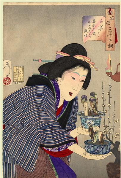 Looking as if she wants to change - The appearance of a proprietress of the Kaei era, 1888 - Tsukioka Yoshitoshi