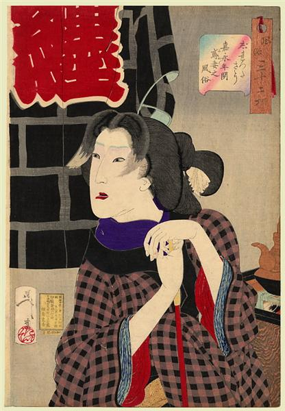Looking as if somebody is about to arrive - The appearance of a fireman's wife in the Kaei era, 1888 - Tsukioka Yoshitoshi