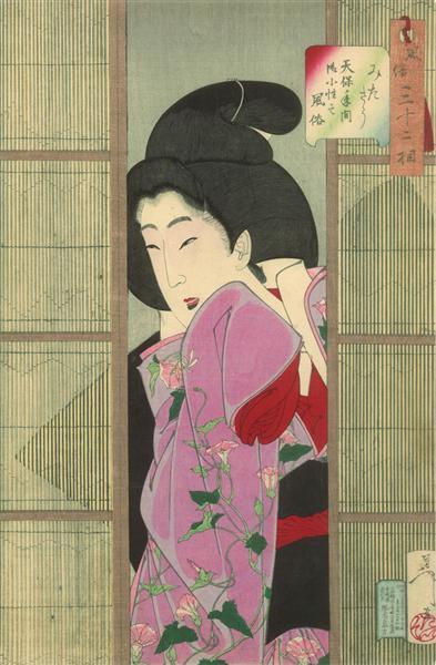 Looking inquisitive - Fuzoku Sanjuniso, 1888 - Цукиока Ёситоси