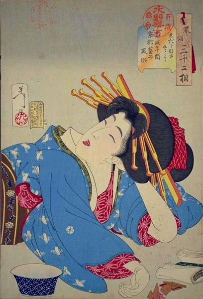 Looking relaxed - The appearance of a Kyoto geisha of the Kansei era, 1888 - Tsukioka Yoshitoshi