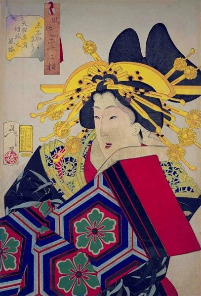 Looking feminine - The appearance of a 'castle-toppler' of the Tempo era, 1888 - Tsukioka Yoshitoshi