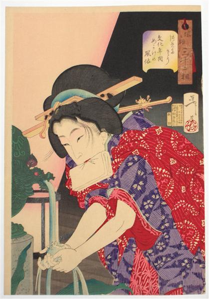 Looking chilly - The Appearance of a concubine of the Bunka Era - Tsukioka Yoshitoshi