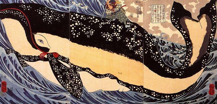 Musashi on the back of a whale - Utagawa Kuniyoshi