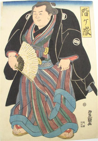 Sumo wrester in blue-brown striped underkimono, c.1820 - Утагава Тоёкуни II
