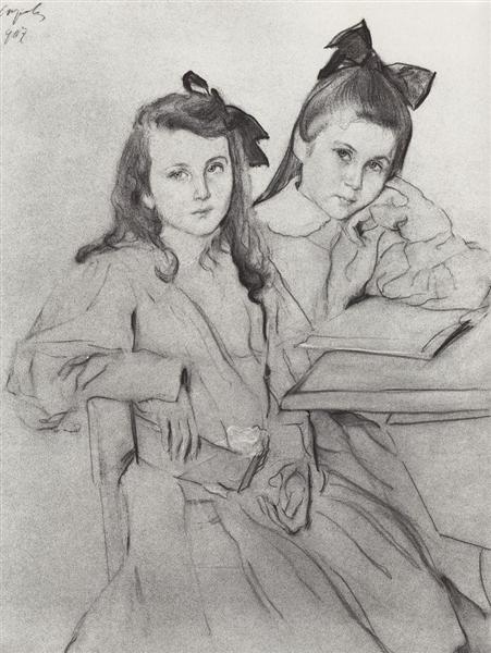 Girls N.A. Kasyanova and T. A. Kasyanova, 1907 - Valentin Serov