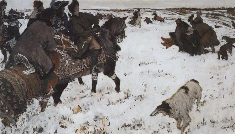 Peter I on the hunt, 1902 - Valentin Serov