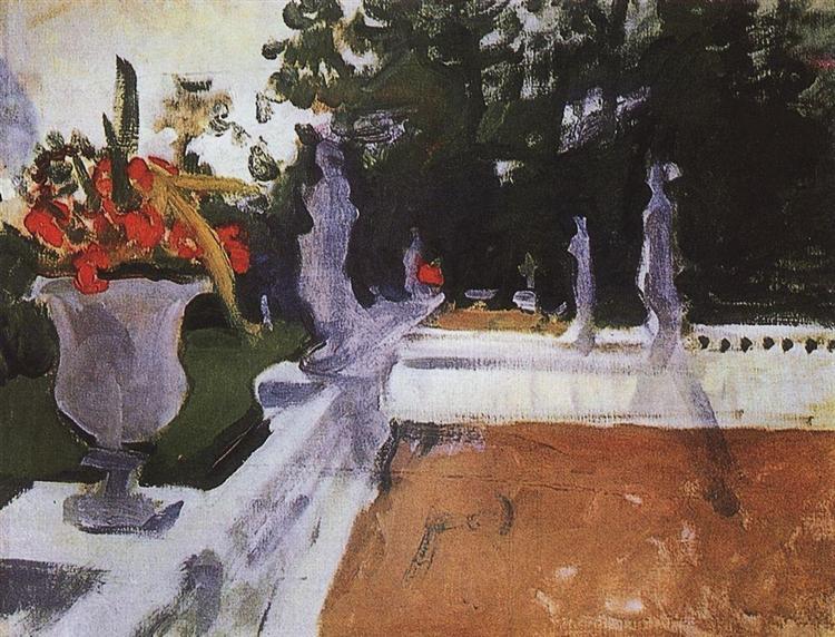 Portico with a balustrade. Arkhangelsk, 1903 - Valentin Serov