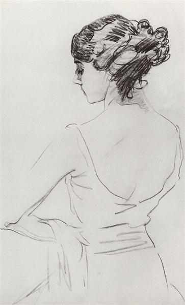 Portrait of Ballet Dancer T. Karsavina, 1909 - Valentin Serov