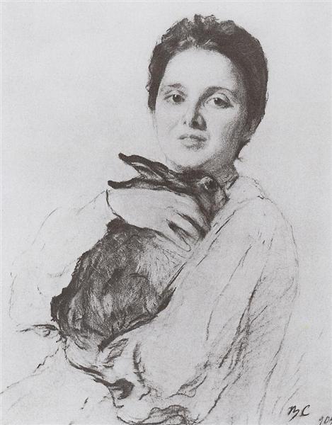 Portrait of K.A. Obninskaya with bunny, 1904 - Valentin Serov