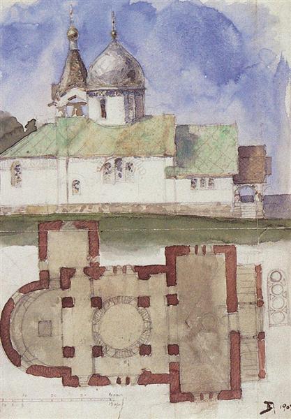 Sketch and floor plan of Holy Trinity Church in Biokhovo village, 1903 - Vassili Polenov